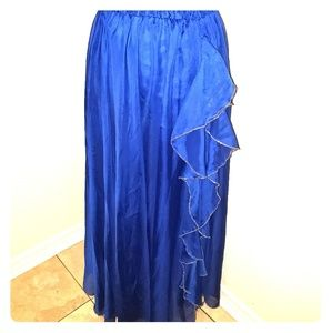 Dresses & Skirts - Blue and Gold Sheer Bellydance skirt with Ruffles